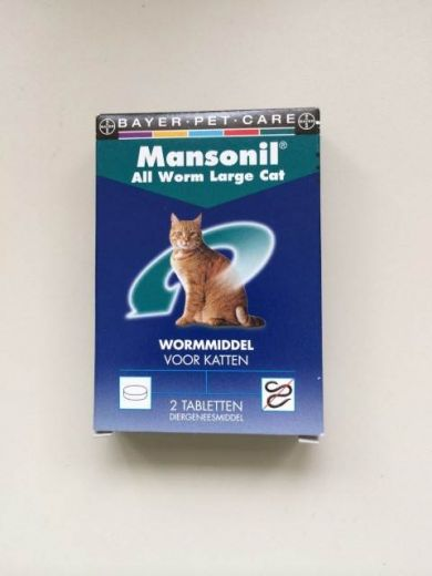 BAYER MANSONIL ALL WORM LARGE CAT ELLIPSOID 2 TABL.