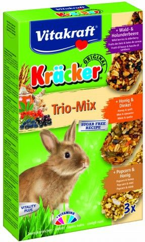 VITAKRAFT KRACKER TRIO-MIX BOSBESSEN/HONING/POPCORN KONIJN 3IN1
