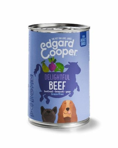 EDGAR & COOPER HOND ADULT BLIK 400 GRAM RUND MET RODE BIET, BROCCOLI & PEER