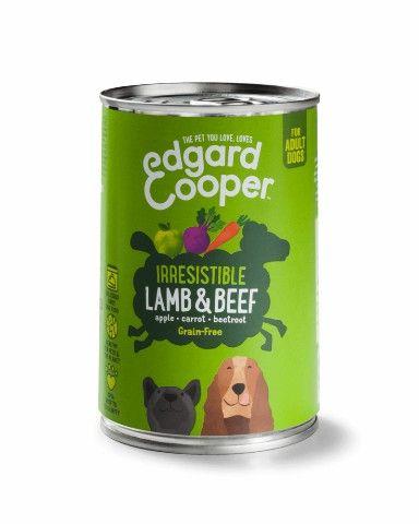 EDGAR & COOPER HOND ADULT BLIK 400 GRAM LAM & RUND MET APPEL, WORTEL & RODE BIET