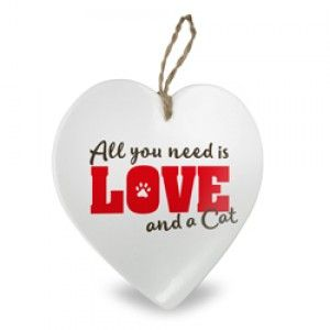 DECORATIEF HARTJE ALL YOU NEED IS LOVE AND A CAT