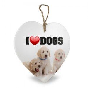 DECORATIEF HARTJE I LOVE DOGS